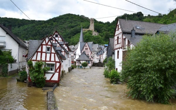 The Elz river in Monreal, Germany, burst its banks after heavy flooding